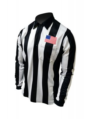 "Honig's 2.25"" Striped Ultra Tech Long Sleeve Football Shirt With Sublimated Flag on Left Chest"