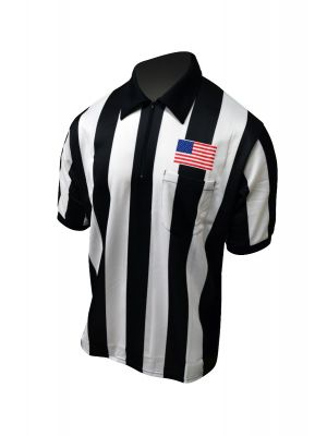 "Honig's 2.25"" Striped Ultra Tech Short Sleeve Football Shirt With Sublimated Flag on Left Chest"