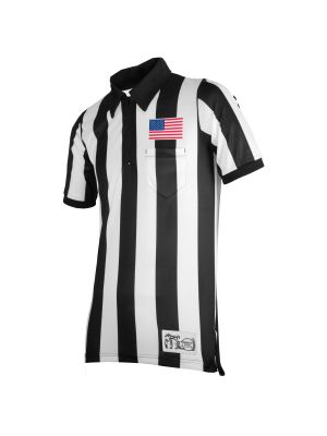 """Honig's 2"""" Striped Ultra Tech Short Sleeve Football Shirt with Sublimated Flag  on Left Chest"""
