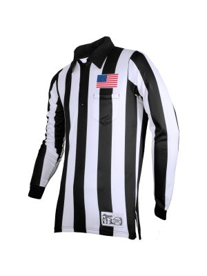 """Honig's 2"""" Striped Ultra Tech Long Sleeve Football Shirt with Sublimated Flag  on Left Chest"""