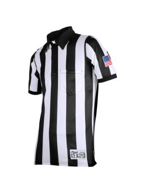 "Honig's 2"" Striped Ultra Tech Short Sleeve Football Shirt with Sublimated Flag  on Left Sleeve"
