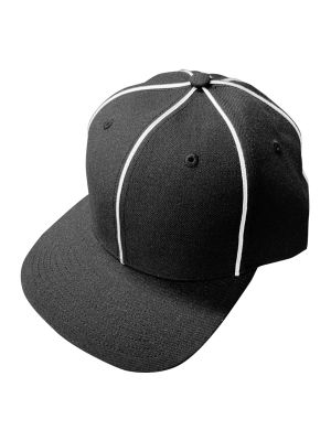 Adjustable Football Hat - Black W/ White Piping