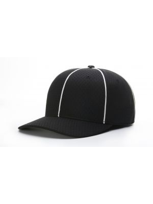 Richardson FLEX-FIT MESH Football Hat - Black/White Piping and White