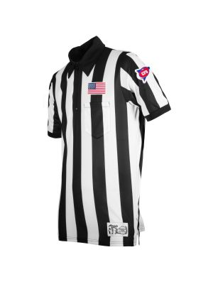"Honig's 2"" Striped ProSoft NCAA Short Sleeve Football Shirt With Placket and Flag on Left Chest"