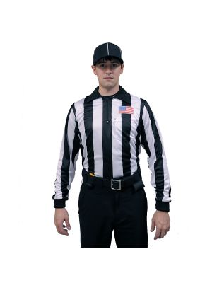 "Honig's NCAA 2"" Striped Ultra Tech Long Sleeve Football Shirt With Placket and Flag on Left Chest"