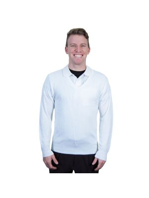 Edwards Acrylic V-Neck Sweater - White