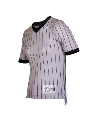Women's V-Neck Grey Pinstripe